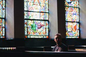 Single Man In Church Pew